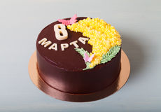 Chocolate cake with inscription Stock Photography