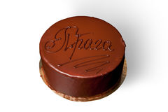 Chocolate cake with inscription Stock Images