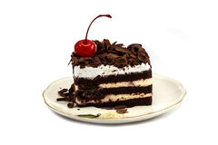 Chocolate cake isolated on white background Stock Photography