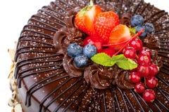 Chocolate cake isolated on white Royalty Free Stock Photo