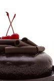 Chocolate cake. Chocolate cake isolated on white background. Fresh chocolate cake Stock Photo