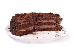Chocolate cake. Isolated on white closeup Stock Image