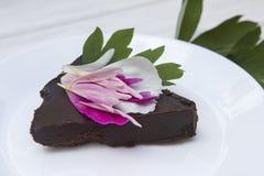 Chocolate cake. Italian chocolate cake with flowers Stock Photos