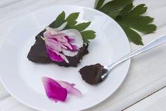 Chocolate cake. Italian chocolate cake with flowers Royalty Free Stock Image