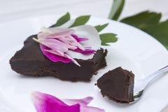 Chocolate cake. Italian chocolate cake with flowers Stock Photo