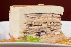 Chocolate cake with jam ice cream Stock Photos