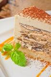 Chocolate cake with jam ice cream Stock Images