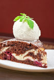 Chocolate cake with jam ice cream Royalty Free Stock Image