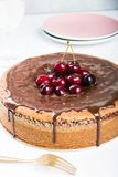 Chocolate cake with juicy cherries royalty free stock photos