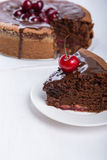 Chocolate cake with juicy cherries.  Stock Photos