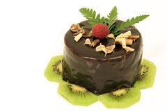 Chocolate cake with kiwi Stock Image