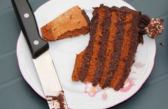 Chocolate cake with knife. A slice of chocolate cake with knife royalty free stock image