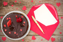 Chocolate cake and love  letter Royalty Free Stock Image