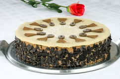 Chocolate cake with marzipan and red roses Royalty Free Stock Photo
