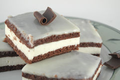 Chocolate Cake With Milk Cream Royalty Free Stock Photos