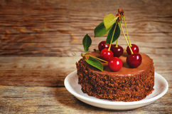 Chocolate cake mini with cherries Royalty Free Stock Photography
