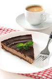Chocolate cake with mint Stock Images
