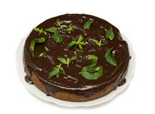 Chocolate cake with mint Royalty Free Stock Image