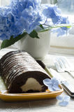 Chocolate cake with mint and blueberries, hydrangea Royalty Free Stock Photo