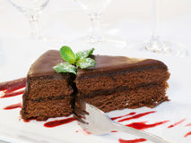 Chocolate cake with mint Royalty Free Stock Photography