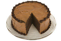 Chocolate cake missing a slice Stock Image