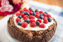 Chocolate Cake with mixed berries Stock Photo