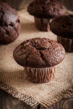 Chocolate cake muffins on a table Stock Photography