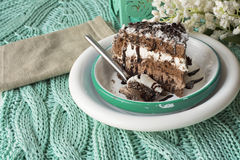 Chocolate cake. musse and chantilly cream Stock Image