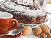 Chocolate Cake with nuts. Royalty Free Stock Photography