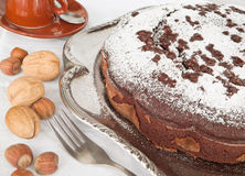 Chocolate Cake with nuts. Stock Image