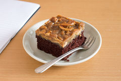 Chocolate Cake With Nuts Caramel Stock Photo