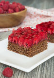 Chocolate cake with nuts and raspberry jelly filling Stock Photo