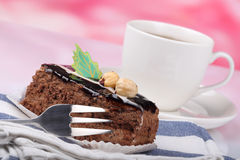 Chocolate cake with nuts Stock Image