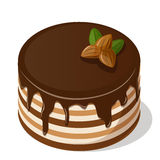 Chocolate cake with nuts. Stock Photo