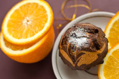 Chocolate cake and orange Royalty Free Stock Image
