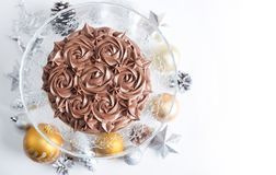 Chocolate Cake with brown cream Royalty Free Stock Image