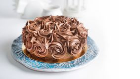 Chocolate Cake with brown cream Stock Images