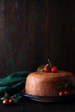 Chocolate cake with paradise apples Royalty Free Stock Photography