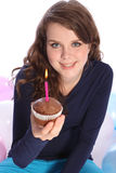 Chocolate cake and party candle for happy girl Stock Images