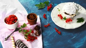 Chocolate Cake Pavlova with raspberries. copy space. Top view stock images