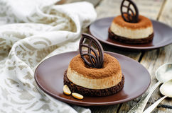 Chocolate cake with peanut mousse Royalty Free Stock Images