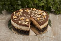 Chocolate cake with peanuts, snickers cake Royalty Free Stock Image