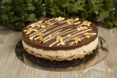 Chocolate cake with peanuts, snickers cake Royalty Free Stock Photos