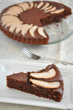 Chocolate Cake with Pears Stock Images