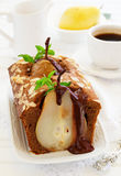 Chocolate cake with pears Royalty Free Stock Image