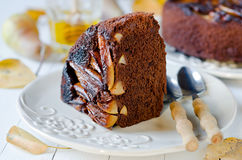 Chocolate cake with pears Royalty Free Stock Photos