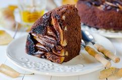 Chocolate cake with pears Stock Photos