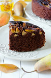Chocolate cake with pears Royalty Free Stock Photography