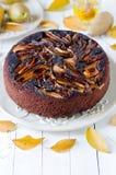 Chocolate cake with pears Stock Photo