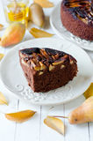 Chocolate cake with pears Royalty Free Stock Images